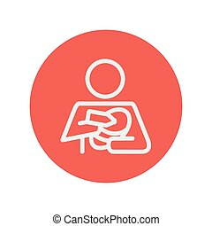 Mother and baby breastfeeding thin line icon for web and...