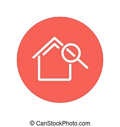House and magnifying glass thin line icon for web and mobile...