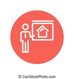 Real estate training thin line icon for web and mobile...
