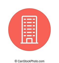Office building thin line icon for web and mobile...