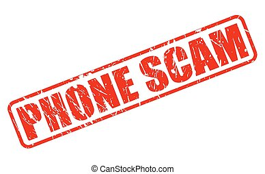 Phone scam red stamp text on white