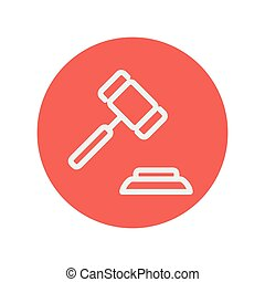 Gavel thin line icon for web and mobile minimalistic flat...