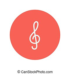 G-clef thin line icon for web and mobile minimalistic flat...