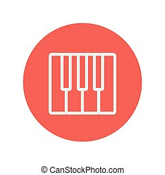 Piano keys thin line icon