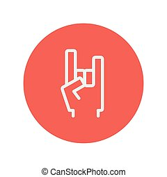 Rock hand thin line icon for web and mobile minimalistic...