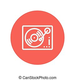 Phonograph turntable thin line icon for web and mobile...