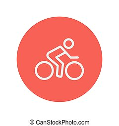 Sport bike and rider thin line icon for web and mobile...