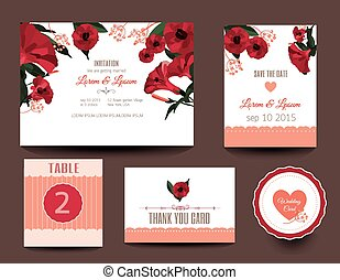 Set of wedding cards.
