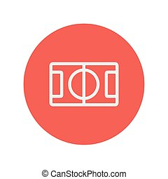 Basketball court thin line icon for web and mobile...
