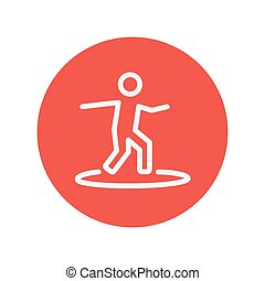Surfing board thin line icon for web and mobile minimalistic...