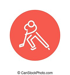 Moving hockey player thin line icon for web and mobile...