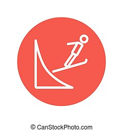Skier jump in the air thin line icon for web and mobile...