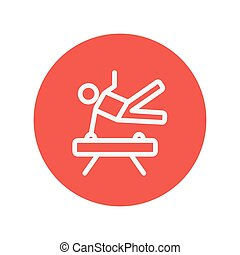 Gymnast on pommel horse thin line icon for web and mobile...