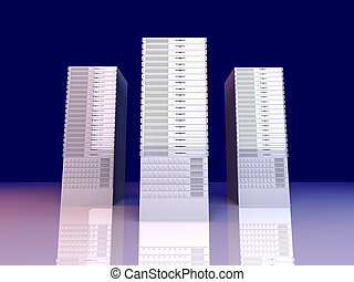 19inch Server towers - 3D rendered Illustration.