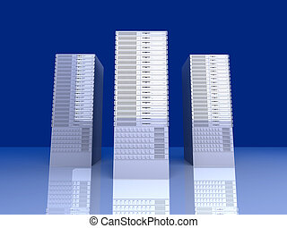 19inch Server towers - 3D rendered Illustration.
