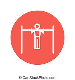 Pull up exercise in a bar thin line icon for web and mobile...