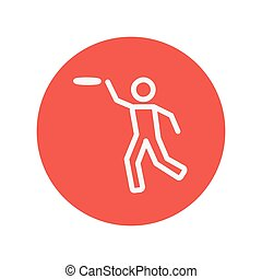Man catching a flying disc thin line icon for web and mobile...