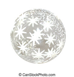 Christmas ball - Lonely glass Christmas ball over white...