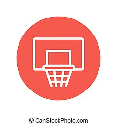 Basketball hoop thin line icon for web and mobile...