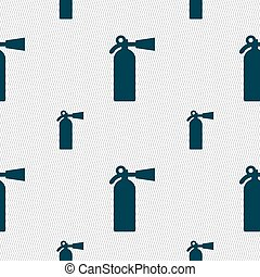 extinguisher icon sign. Seamless pattern with geometric texture. Vector