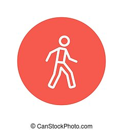 Walking exercise thin line icon for web and mobile...