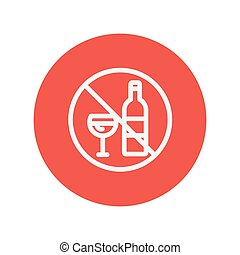 No alcohol sign thin line icon for web and mobile...