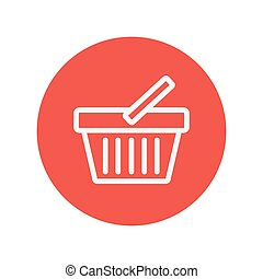 Shopping basket thin line icon for web and mobile...