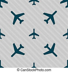 airplane icon sign. Seamless pattern with geometric texture. Vector