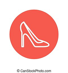 Lady high heel shoe thin line icon for web and mobile...