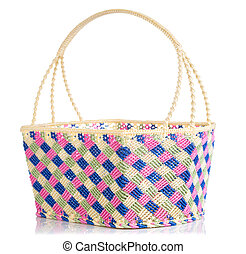 Hand craft plastic basket with shadow isolated on white...