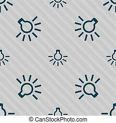 light bulb icon sign Seamless pattern with geometric texture...