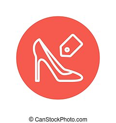 Shoe with tag thin line icon for web and mobile minimalistic...