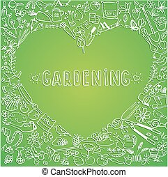 hand drawn garden icons background