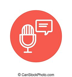 Microphone with speech bubble thin line icon for web and...