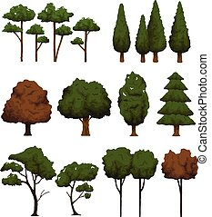 Set of trees for landscape on white background vector...