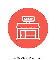 Business shop thin line icon for web and mobile minimalistic...