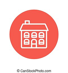 Retro flat house thin line icon for web and mobile...