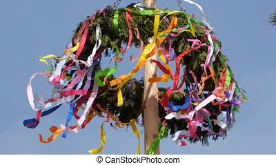 Easter maypole in wind
