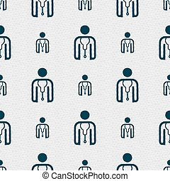 doctor icon sign Seamless pattern with geometric texture...