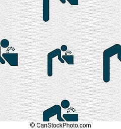drinking fountain icon sign Seamless pattern with geometric...