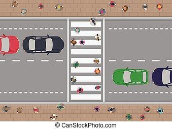 People on crosswalk - Vector people on crosswalk aerial view