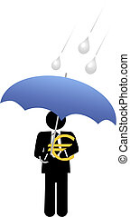 Business man euro money safe under umbrella