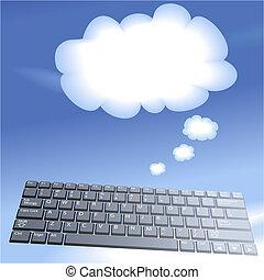 nuvem, computando, flutuante, computador, teclas, pensar,...
