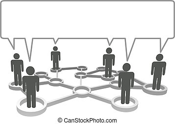 Connected symbol people in network nodes communicate in a speech bubble.