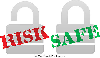 RISK SAFE Protection Security Lock Symbols - A set of red...