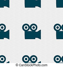 video camera icon sign. Seamless pattern with geometric texture. Vector