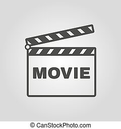 The clapper board icon. Movie symbol. Flat