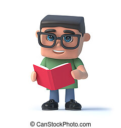 3d Boy wearing glasses reading a book