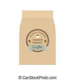 coffee bag - packaging of coffee beams, isolated on white...
