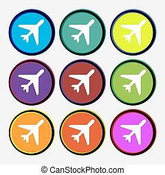 airplane icon sign. Nine multi colored round buttons. Vector